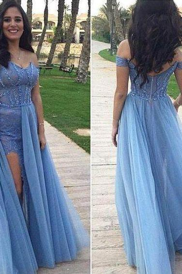 Sky Blue Prom Dresses A-line Prom Dress ,,Prom Dress,Prom Dresses,Evening Dress ,Party Dresses, Long Prom Dresses,Lace Prom Dress,Beading Prom Dresses,Off-shoulder Prom Dress,Floor Length Prom Dresses ,Side Slit Prom Dress E55