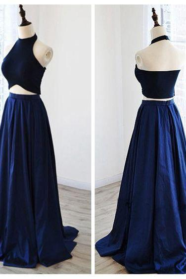 Navy Blue Prom Dresses A-line Prom Dress ,,Prom Dress,Prom Dresses,Evening Dress ,Party Dresses, Long Prom Dresses,Two Piece Evening Dress,Satin Evening Dress,Customized Made Evening Dress E62