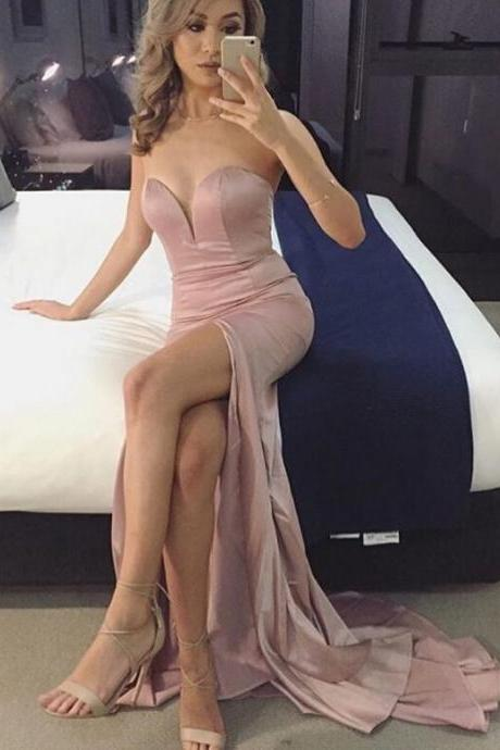 Nude Prom Dresses Mermaid Prom Dress ,Prom Dress,Prom Dresses,Evening Dress ,Party Dresses, Long Prom Dresses,O-neck Prom Dress,Side Slit Prom Dresses,Cheap Prom Dress,Simple Prom Dresses E62