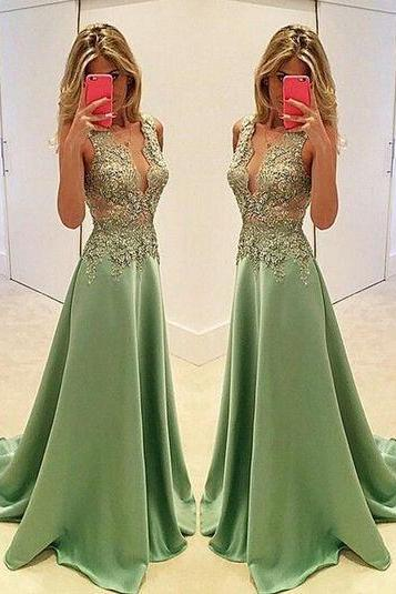 Green Prom Dresses A-line Prom Dress ,Prom Dress,Prom Dresses,Evening Dress ,Party Dresses, Long Prom Dresses,V-neck Prom Dress,Beading Prom Dresses,Beaded Prom Dress,Plus Size Prom Dress,Lace Prom Dress ,A-line Prom Dress E70