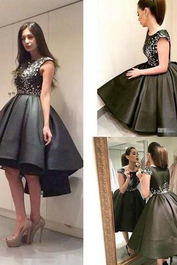 Black Prom Dresses High Low Prom Dress ,Prom Dress,Prom Dresses,Evening Dress ,Party Dresses, Short Prom Dresses,Rhinestones Prom Dress,Cap Sleeves Prom Dress,Beading Prom Dresses,Plus Size Prom Dress,Customized Made Prom Dresses E70