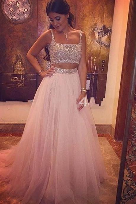 Two Piece Prom Dresses ,DiamondProm Dress ,Prom Dress,Prom Dresses,Evening Dress ,Party Dresses, A-line Prom Dresses,Pink Prom Party Dresses,Sexy Evening Dress E75