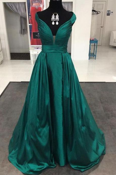 Prom Dresses,Prom Dresses Long,A-line Prom Dress Long,Long Prom Dresses,Off-shoulder Prom Dresses,Off-shoulder Prom Dresses Long,V-neck Prom Dresses,Prom Dresses With Pleat ,Satin Prom Dresses Long E79