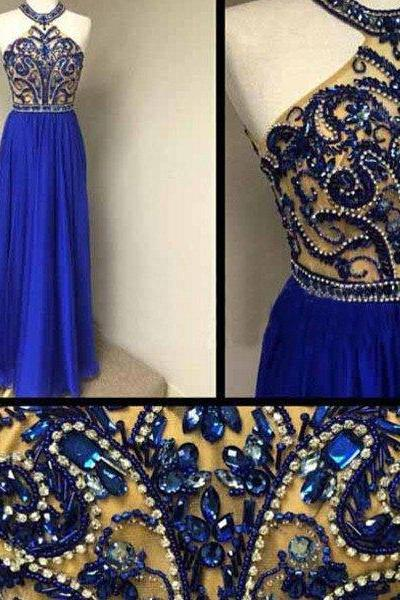 Prom Dresses,Prom Dresses Long,Prom Dresses For Teens,Beaded Prom Dresses Fitted,A-line Prom Dresses Long,Halter Prom Dresses Hairstyles,Long Prom Dresses Open Backs ,Royal Blue Prom Dressess,Chiffon Prom Dresses Blue E80