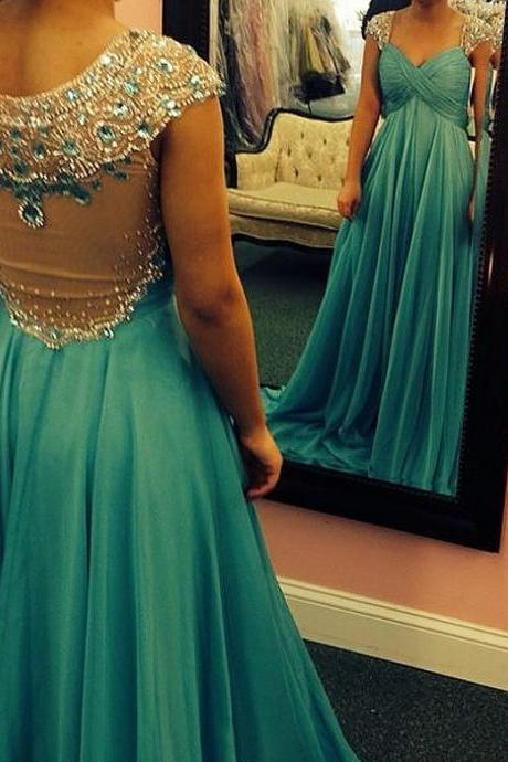 Prom Dresses,Prom Dresses Long,A-line Prom Dresses Long,Beaded Prom Dresses With Sleeves,Cap Sleeves Prom Dresses A-line Chiffon ,Chiffon Prom Dresses Long E81