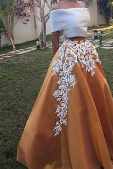 Two Piece Prom Dresses,Prom Dress Long,A-line Prom Dresses With Sleeves,Appliques Prom Dresses,Long Prom Dresses,Off-shoulder Prom Dresses Classy,Satin Prom Dresses Gowns E82