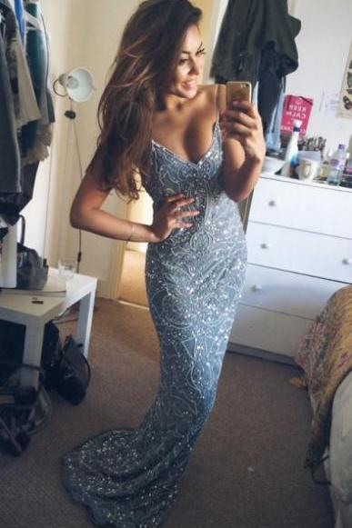 Spaghetti Straps Prom Dress With Beading E151