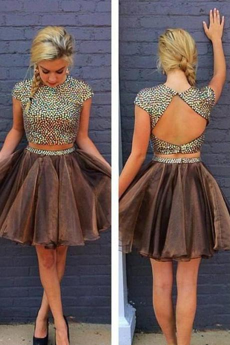 Bling Bling Two Piece Backless Homecoming Dress With Rhinestones ,Sparkly Short Prom Dress HD69