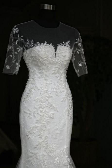 Short Sleeves Lace Flowers Crystal Wedding Dress Bridal Dresses SW06