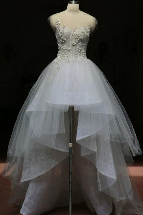 High Low Weddding Dress,High Neck Wedding Dress,Lace Wedding Dress,Wedding Dresses,Short Sleeves Wedding Dress SW13