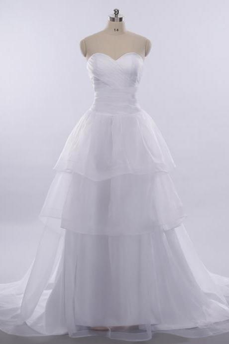 Simple Cheap Sweetheart Neck A-line Layers Wedding Dress RW02