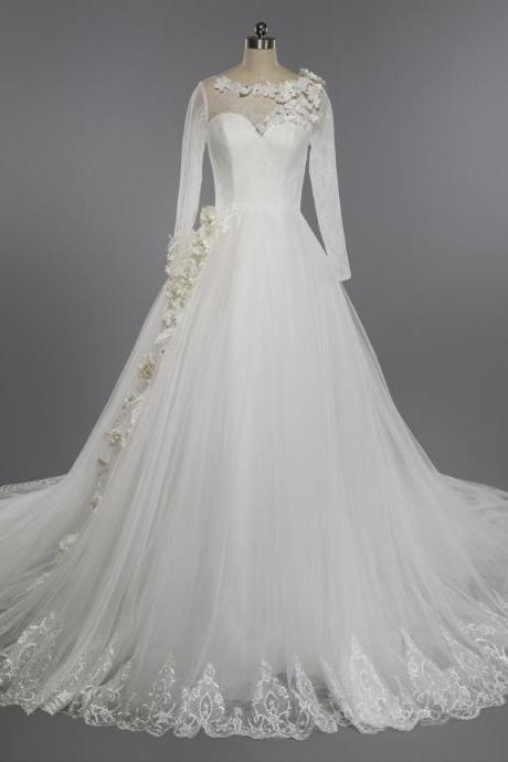 Sheer Floral Lace Appliqués Ball Gown Wedding Dress with Long Train and Long Sleeves
