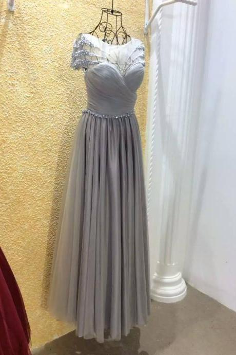 Short Sleeves Evening Dress,A-line Evening Dress,Tulle Evening Dresses,Pearls Formal Dresses,See Through Prom Dresses,Floor Length Evening Dress With Bow ,pleated Evening Dress RW07