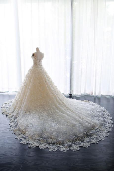 Sheer Floral Lace Appliqués Ball Gown Wedding Dress with Short Sleeves and Long Train